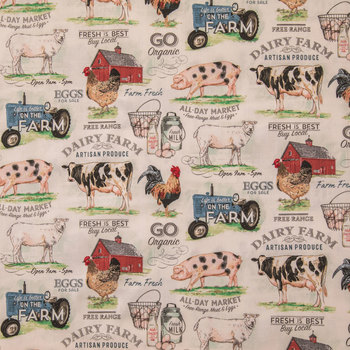 Dairy Farm Cotton Calico Fabric in 2020   Calico fabric ...