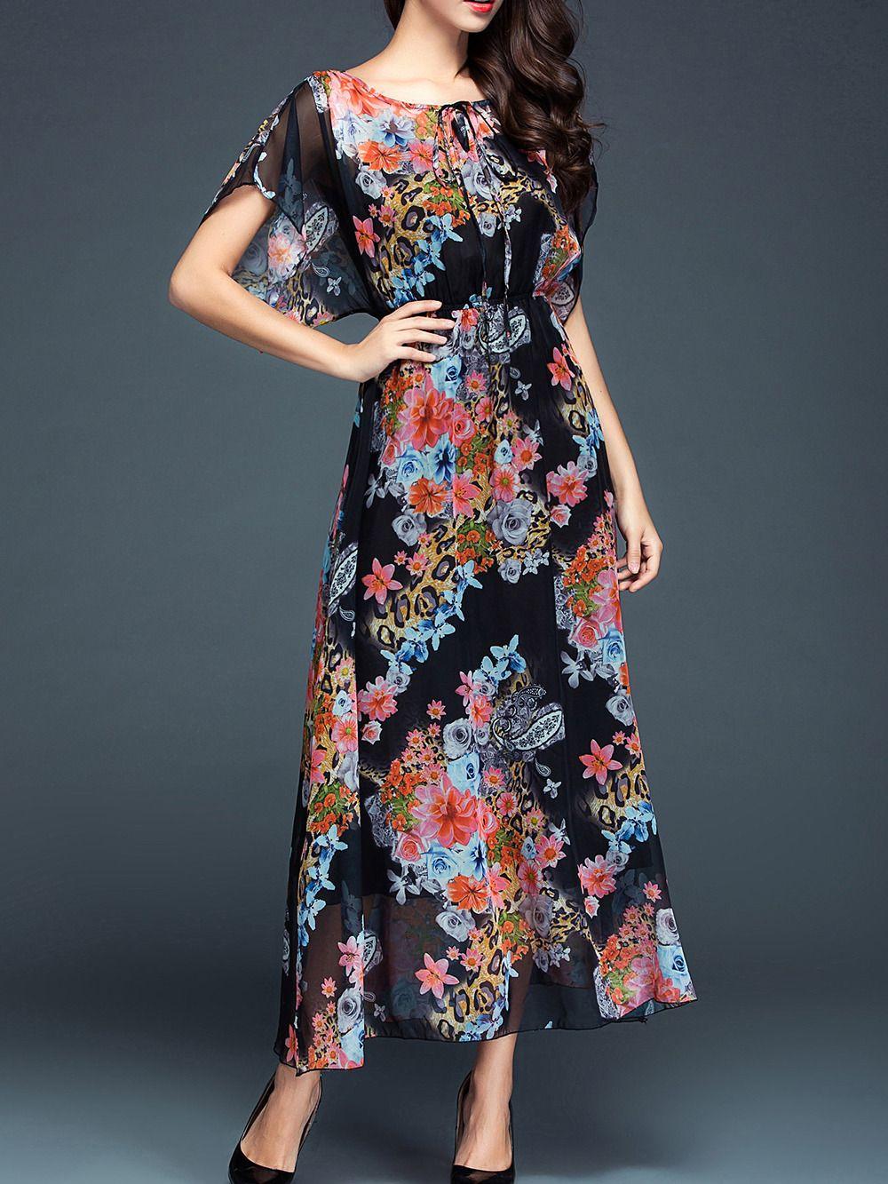 c230208642 Black Tie Neck Batwing Print Maxi Dress -SheIn(abaday)