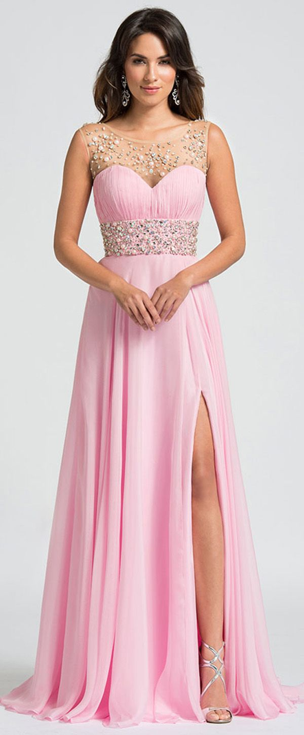 Brilliant Tulle & Chiffon Scoop Neckline A-Line Prom Dresses With ...