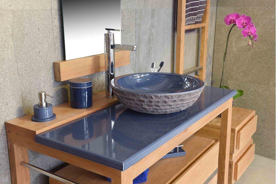 Meuble Vasque En Teck Avec Un Plan En Pierre De Lave Emaillee Votre Salle De Bain N En Sera Qu E Meuble Vasque Meuble Sous Vasque Bois Meuble De Salle De Bain