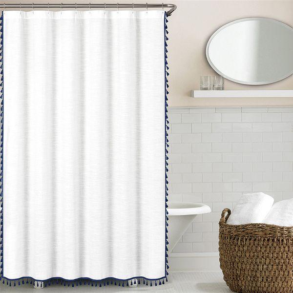 Echelon Home\'s Tassel Shower Curtain offers a preppy yet modern look ...