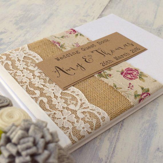 Vintage Rose arpillera y rústico del Hessian boda libro de visitas, encaje marfil, hecho a mano, personalizado