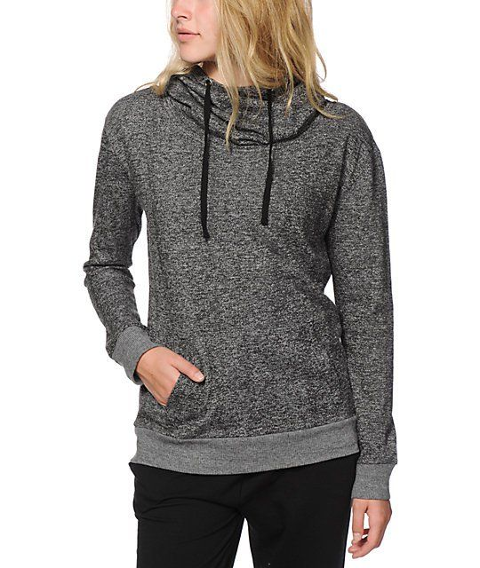 00e1d42a029a Mix up your activewear collection with this lightweight knit terry hoodie  that features and oversized hood that can be worn as a slouchy cowl neck  for a ...