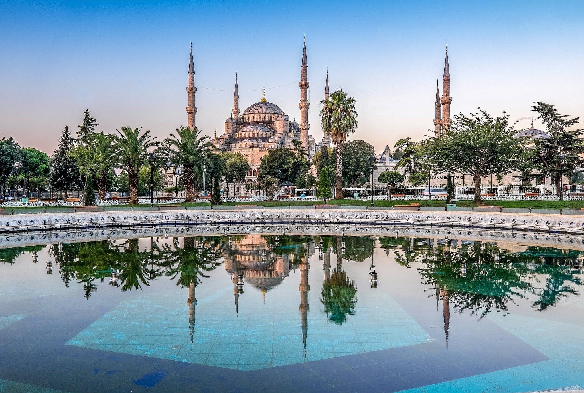 Architecture Cityscape Istanbul Turkey Sultan Ahmed Mosque Palm Trees Water Tiles Reflection Park 1080p Wallpa Blue Mosque Istanbul Wallpaper Mosque