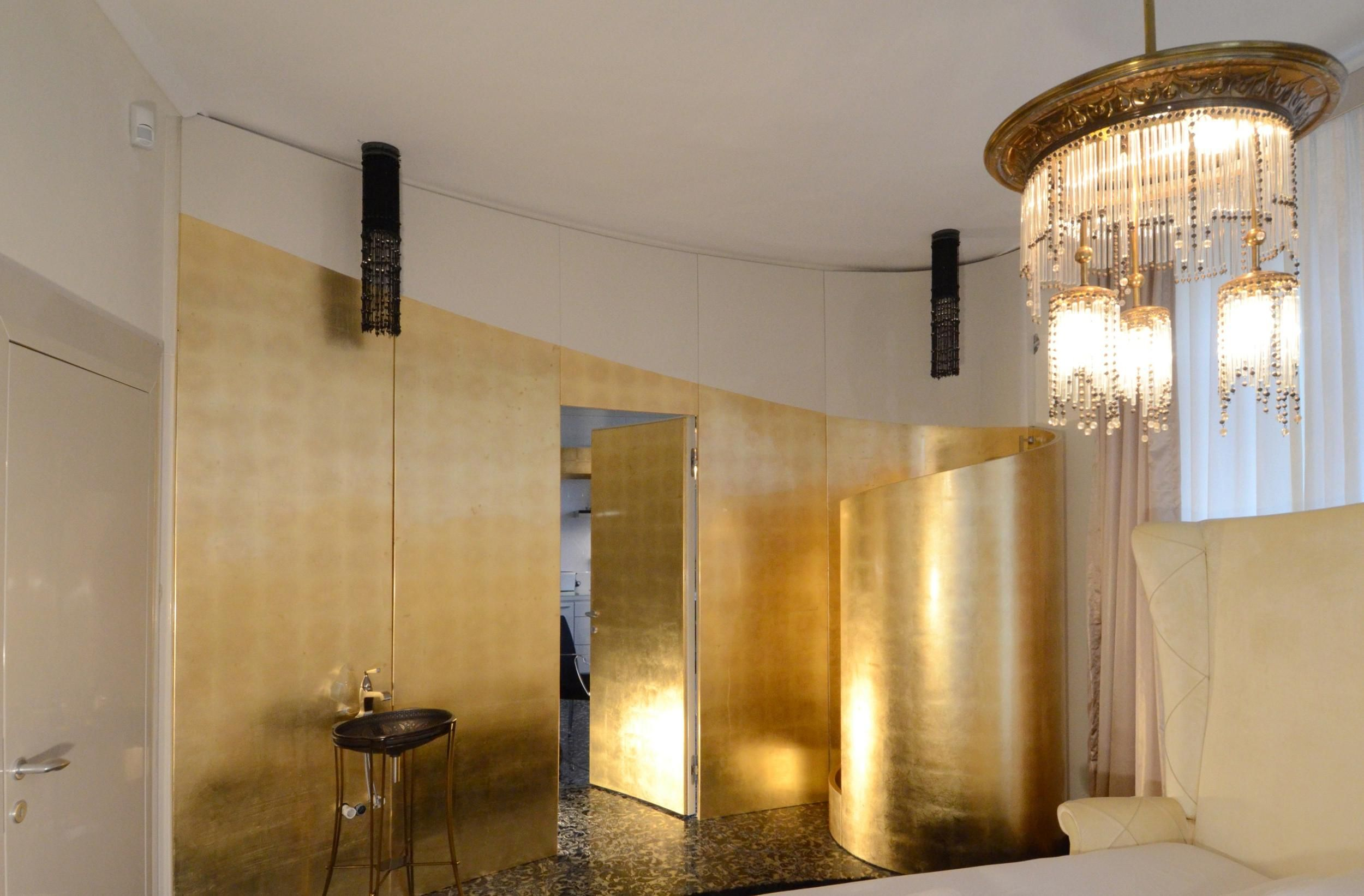 Enchanting bathroom decoration ideas with luxury pendant lamps as enchanting bathroom decoration ideas with luxury pendant lamps as well gold paint wall and showr corner aloadofball Choice Image