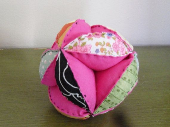 Baby puzzle ball hot pink to by rescuedthreads on Etsy