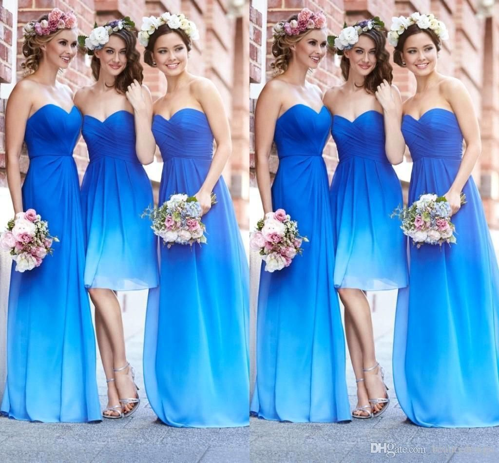 Plus size beach wedding guest dresses   Beach Gradient Short Long Bridesmaid Dresses Sweetheart Chiffon