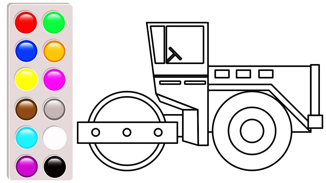 Construction vehicles coloring pages, Road roller coloring book ...