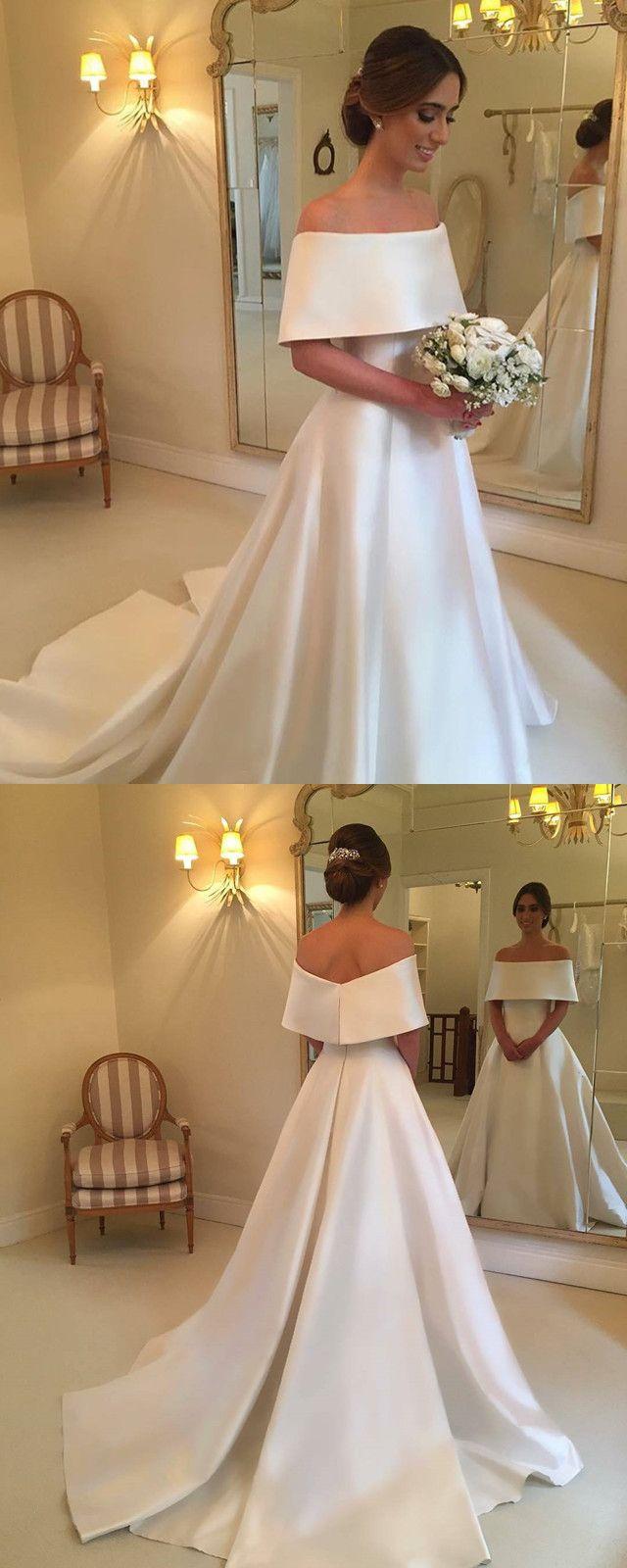 Aline off the shoulder long satin wedding dresses bridal