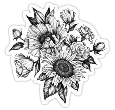 'flowers in ink' Sticker by Audrey Metcalf