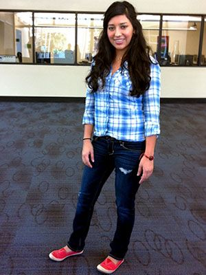 Iris, a Mountain View College student, adds a pop of red to her jeans and blue plaid. #dcccdstyle