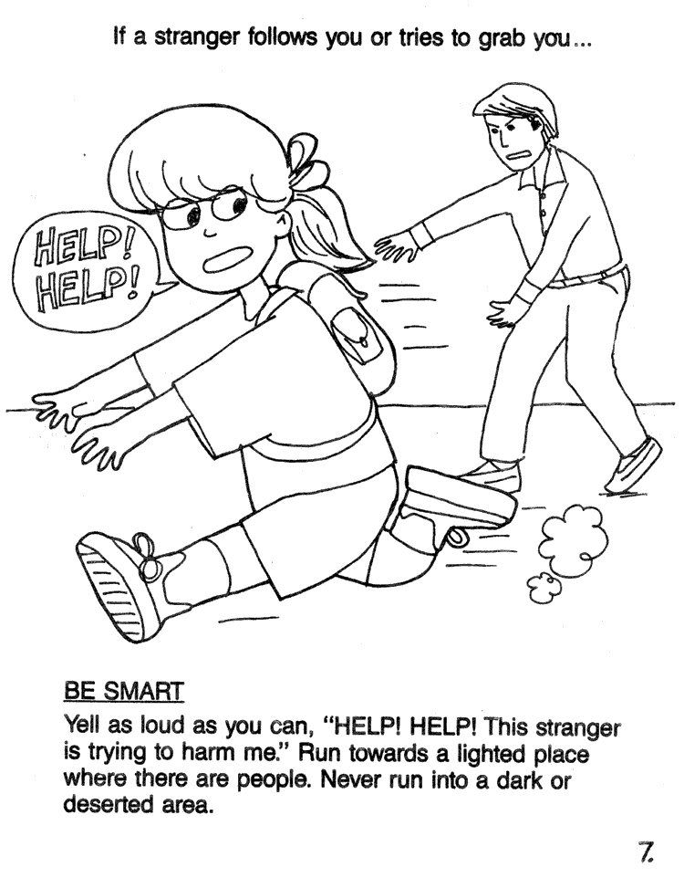 Stranger danger coloring pages 7 Scream HELP – Safety Worksheets for Kindergarten