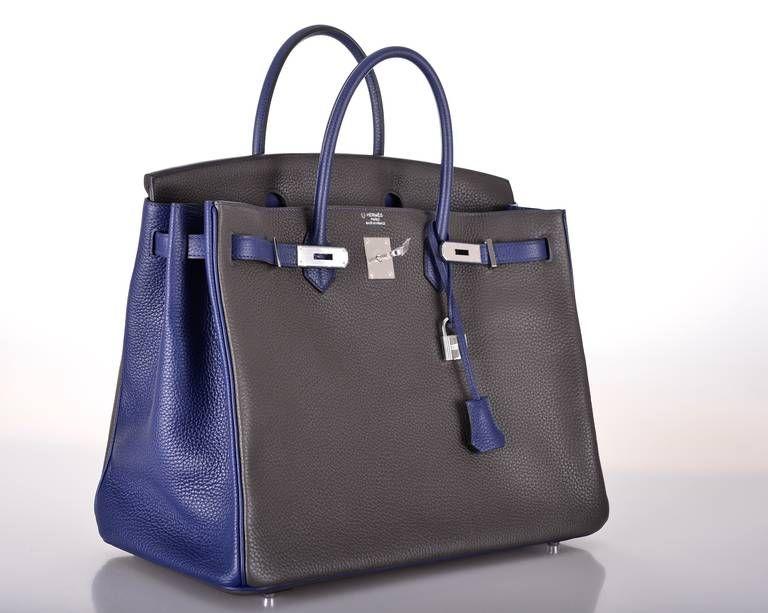 e2d5fef900 HERMES BIRKIN BAG 40cm 2 TONE SPECIAL ORDER GRAPHITE   SAPPHIRE INCREDIBLE!  image 2