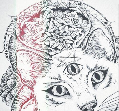 Three Eyed Cat Satan Worshiper For Halloween Cat Tattoo Cat Art Art