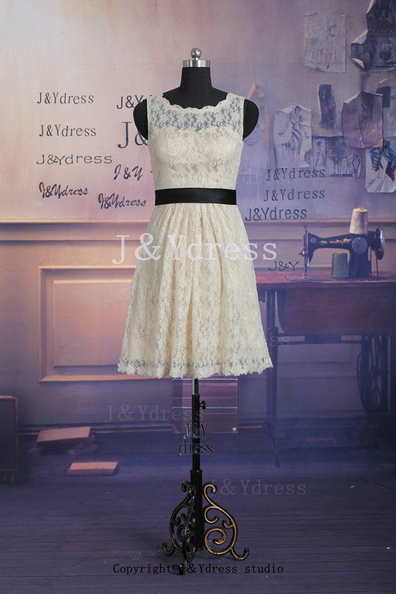 A-line Straps Scoop Neck Short Lace Bridesmaid Dress #lacebridesmaids