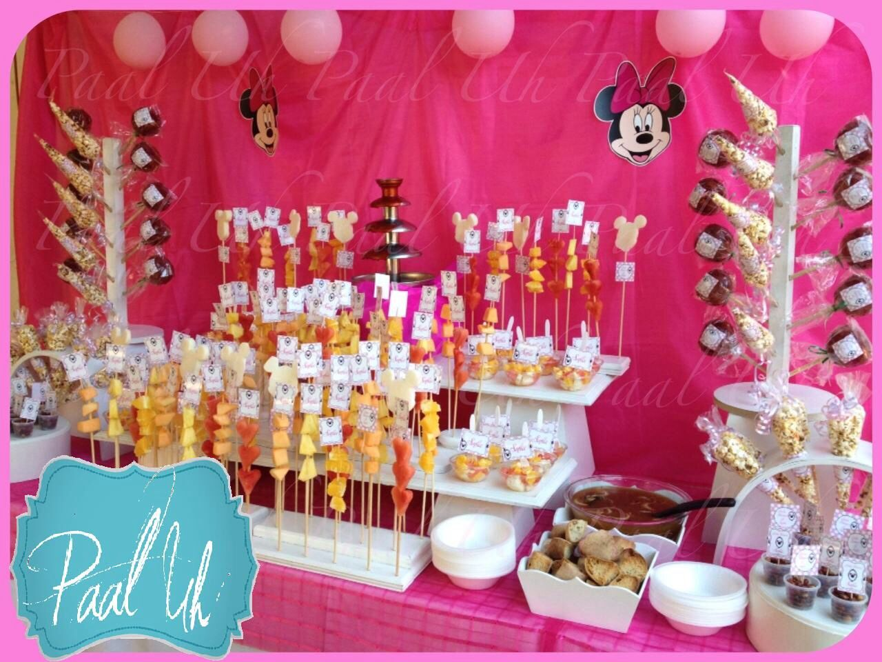 paal uh mesa de postres snacks minnie mouse pink dulce y botana