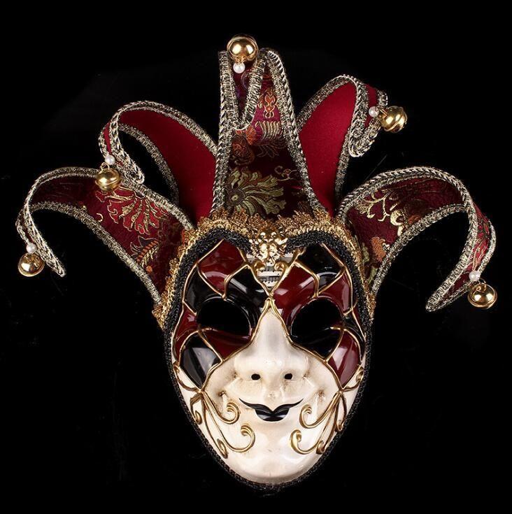 Mardi Gras Mask Masquerade Mask BlackSilver Venetian Mask w Silk Floral Embroidery and Bells Jester Mask Mens Masquerade Mask