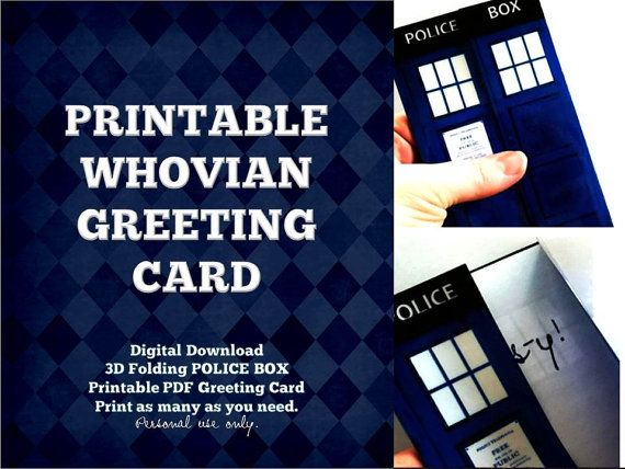 3D Blue Police Box Greeting Card PRINTABLE by BohoBearPaperStudio – Dr Who Birthday Card