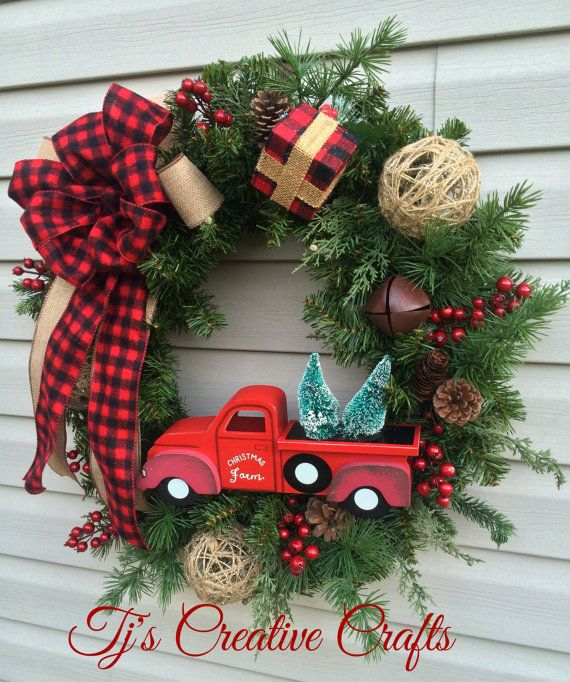 Vintage Inspired Christmas Wreath Rustic By TjsCreativeCrafts