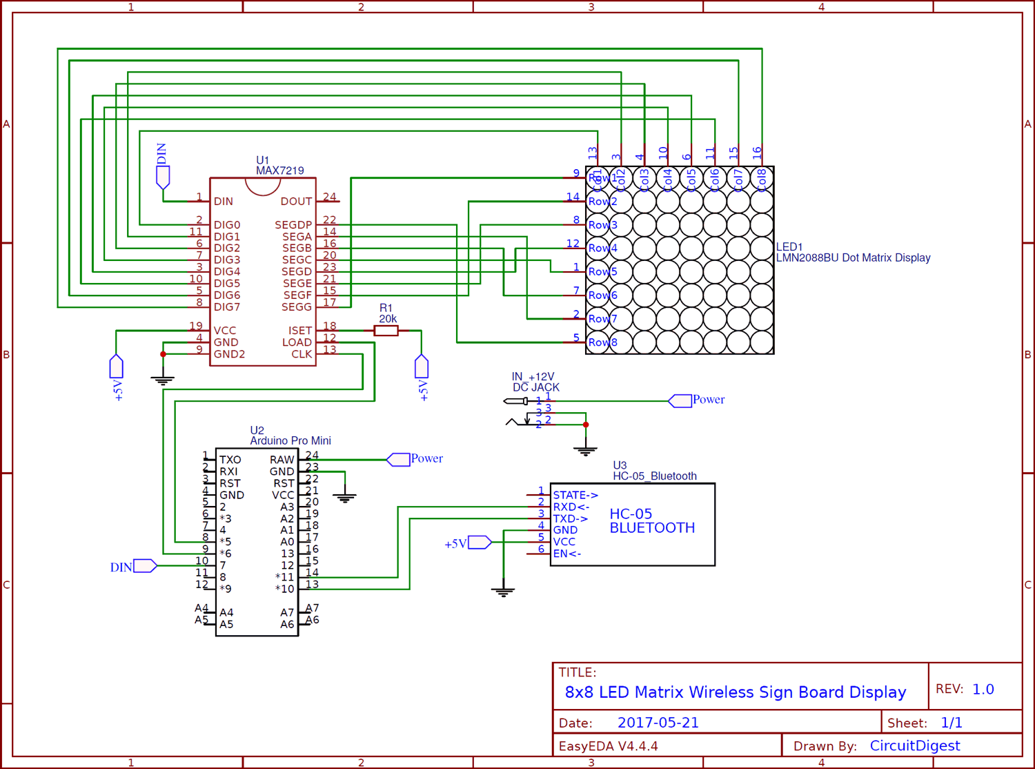 Circuit diagram for Bluetooth Controlled 8x8 LED Wireless Sign Board