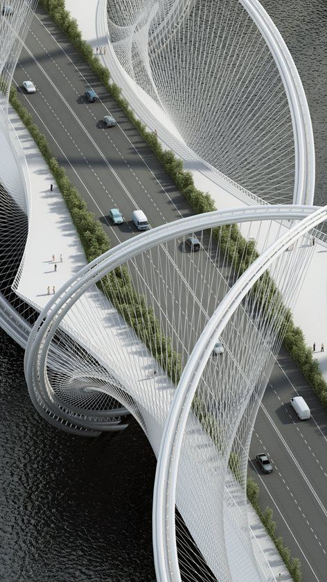 """The San Shan Bridge spans across the Gui River and will be an integral part of the infrastructure program for the Olympic Winter Games 2022 in Beijing and connects the city center with Zhangjiakou. The english translation of """"San Shan..."""