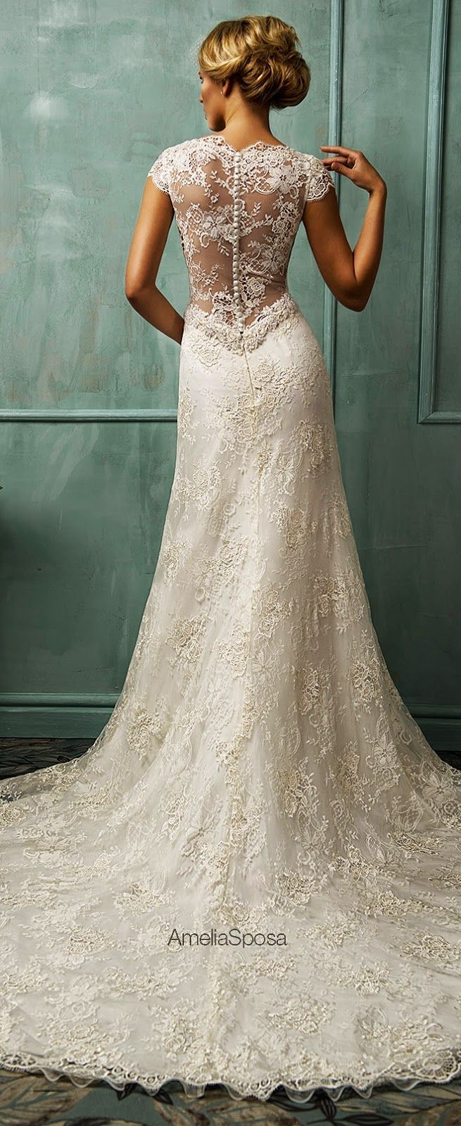 Back out wedding dresses  Lovely lace back Amelia Sposa  Love story beginnings  Pinterest