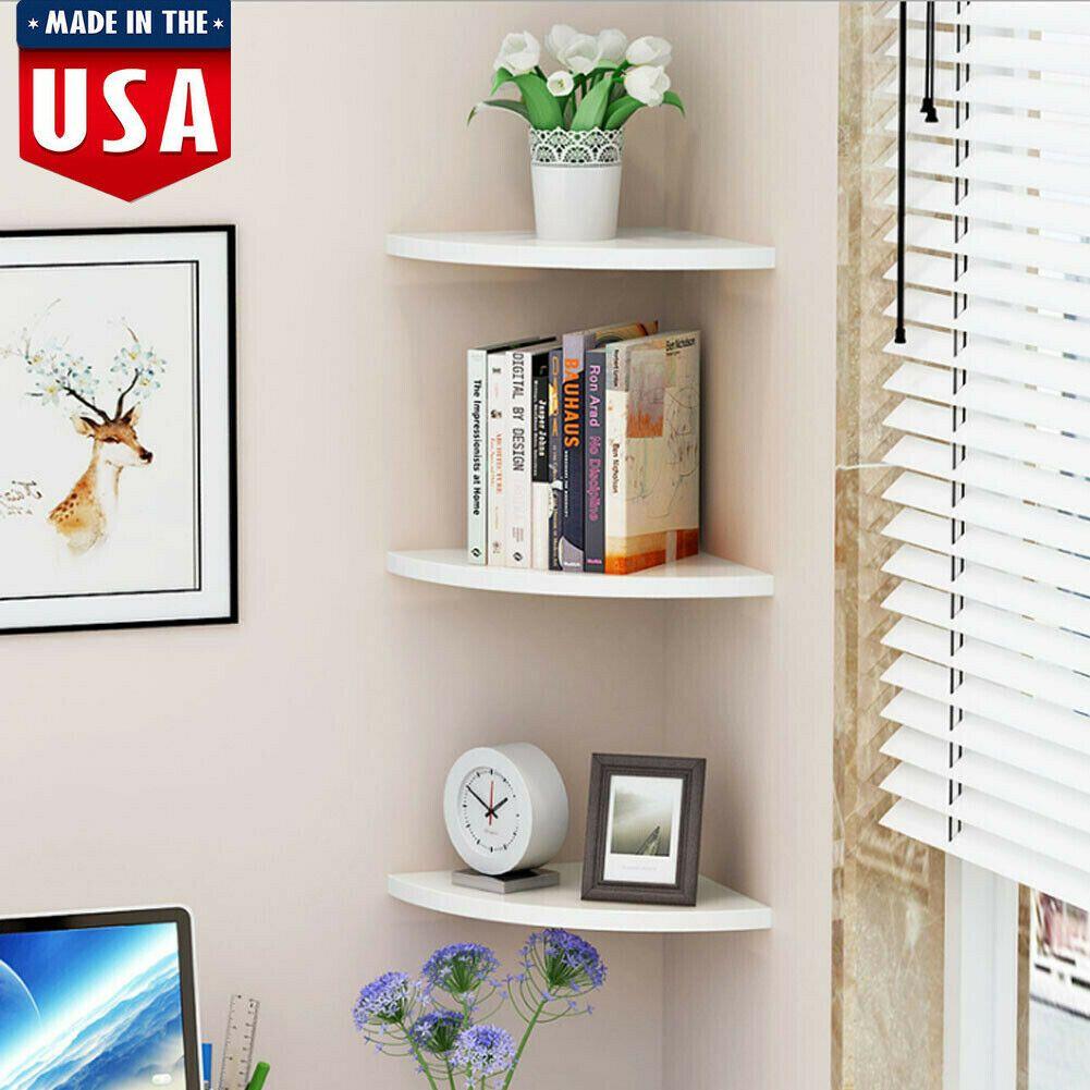 3pcs Bathroom Corner Shelf Floating Wall Shelf Storage Rack Display Home Decor In 2020 Floating Corner Shelves Floating Shelves Wall Shelves Bedroom