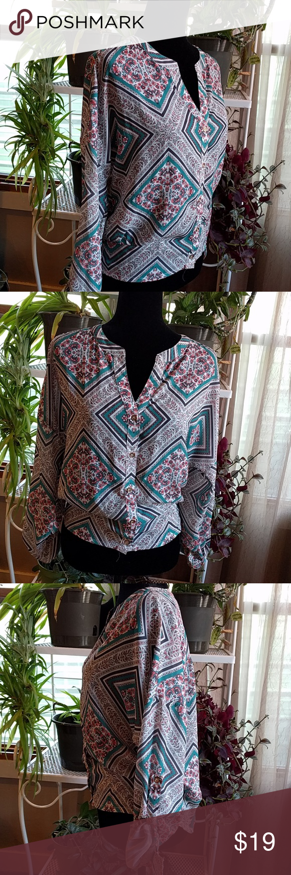 Bohemian style blouse Beautiful bohemian style blouse  xhilaration  size medium 100% polyester Slightly gathered at hip offers flouncy look Tops Blouses