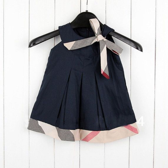 Baby Toddler Burberry Inspired Plaid Dress Navy 22 Baby