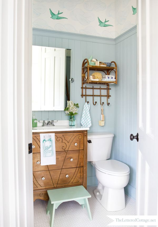 Wallpaper For The Powder Room Cottage Bathroom Cottage Style