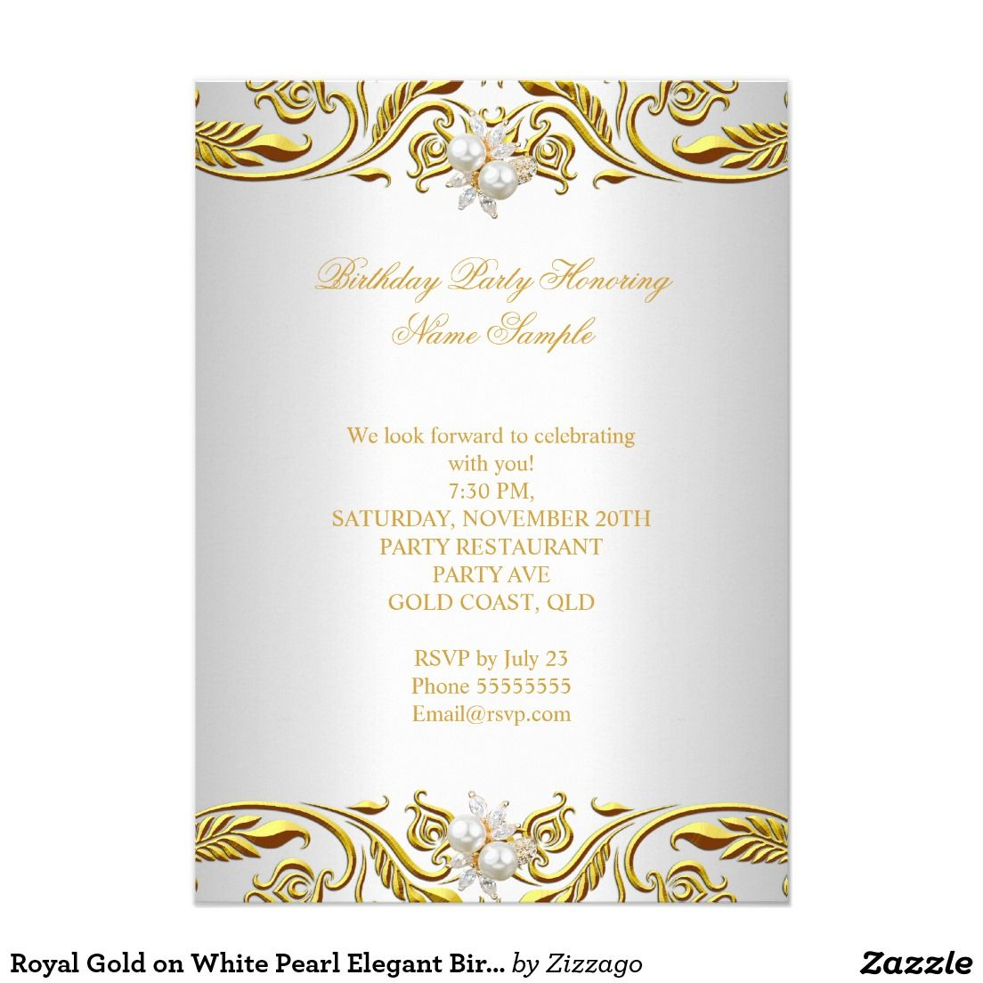 Royal Gold on White Pearl Elegant Birthday Party 4.5x6.25 Paper ...
