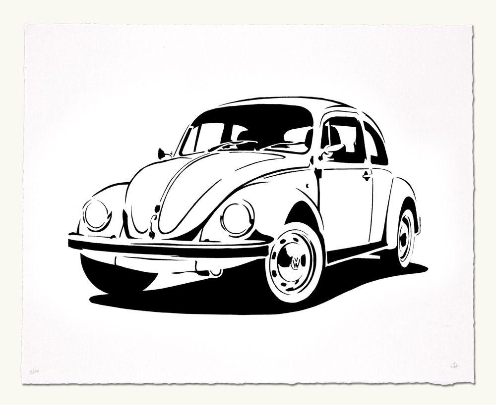 VW beetle blocked t Fusca Silhueta e Pirografia
