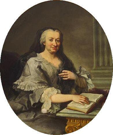 Martin van Meytens, Maria Karolina Gräfin Fuchs (1681-1754) an einem Tisch sitzend