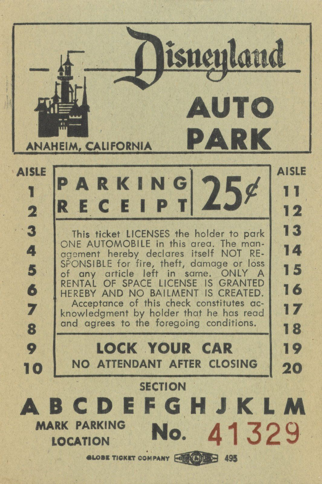 Disney Facts Vintage Disneyland Parking Ticket
