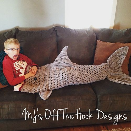 Knitting Pattern For A Shark Blanket : Bulky & Quick Shark Blanket pattern by MJs Off The Hook Designs Mo...