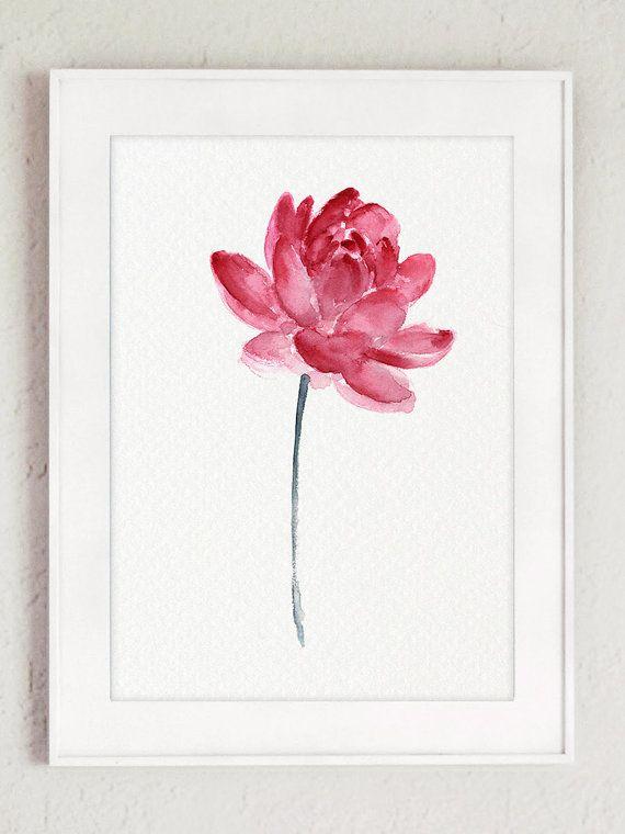 Wall Art Lotus Flower : Lotus flower pink wall art blooming watercolor