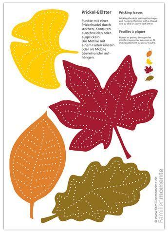Prickel-Blätter - Bastelbogen zum Prickeln von Herbst-Blättern für ein Mobile oder eine Girlande aus Blättern #herbstbastelnmitkindernfensterbilder