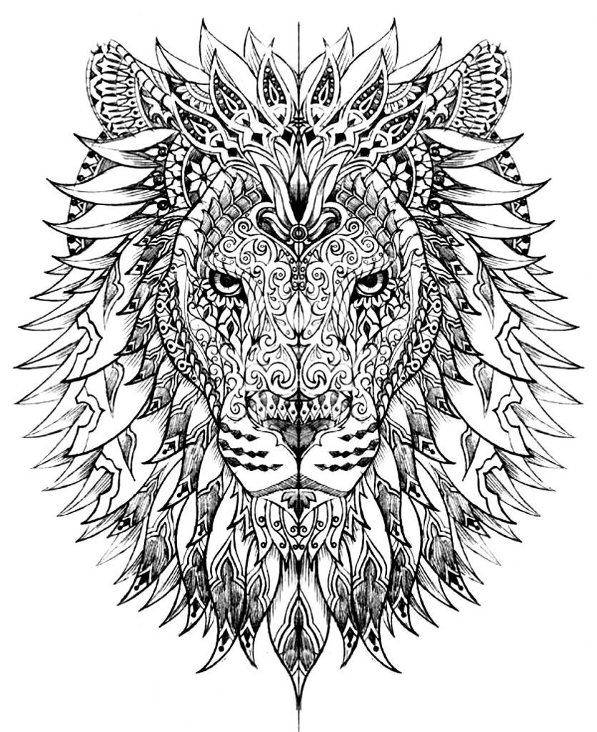 Hard Coloring Pages For Adults Lion Coloring Pages Animal