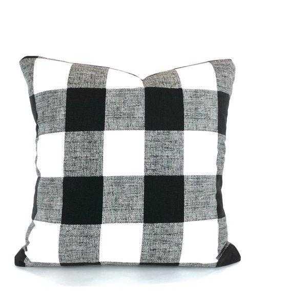 Farmhouse Black White Buffalo Check Pillow Covers Decorative Throw Pillow Cushions Black White Plaid Black Throw Pillows Plaid Throw Pillows Pillow Covers