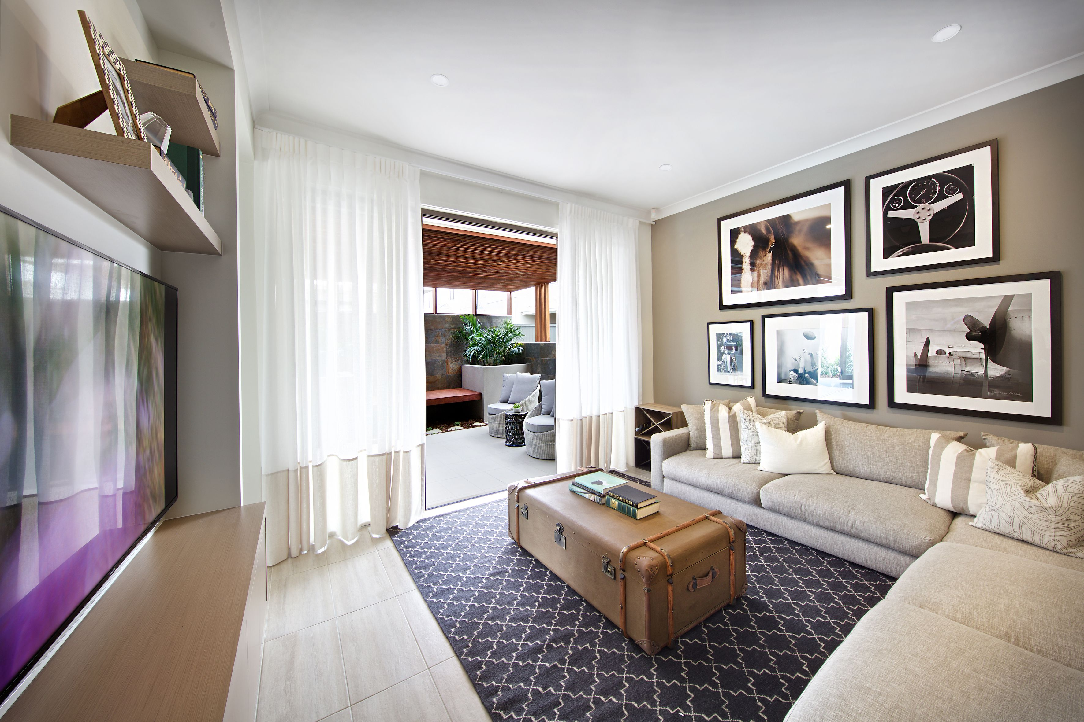 Clarendon Homes. Terracedale 28. Living room with sheer curtains to ...