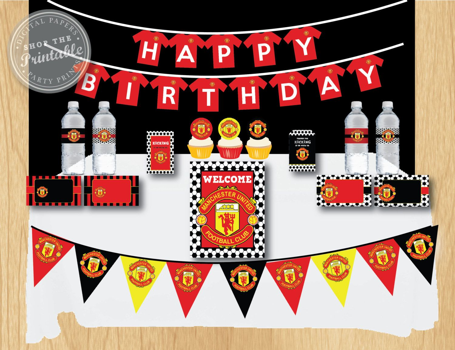 Manchester United Birthday Party Package Soccer Birthday Party Thank You Tag Water Bottle Label Food Soccer Birthday Parties Bday Party Kids Soccer Birthday