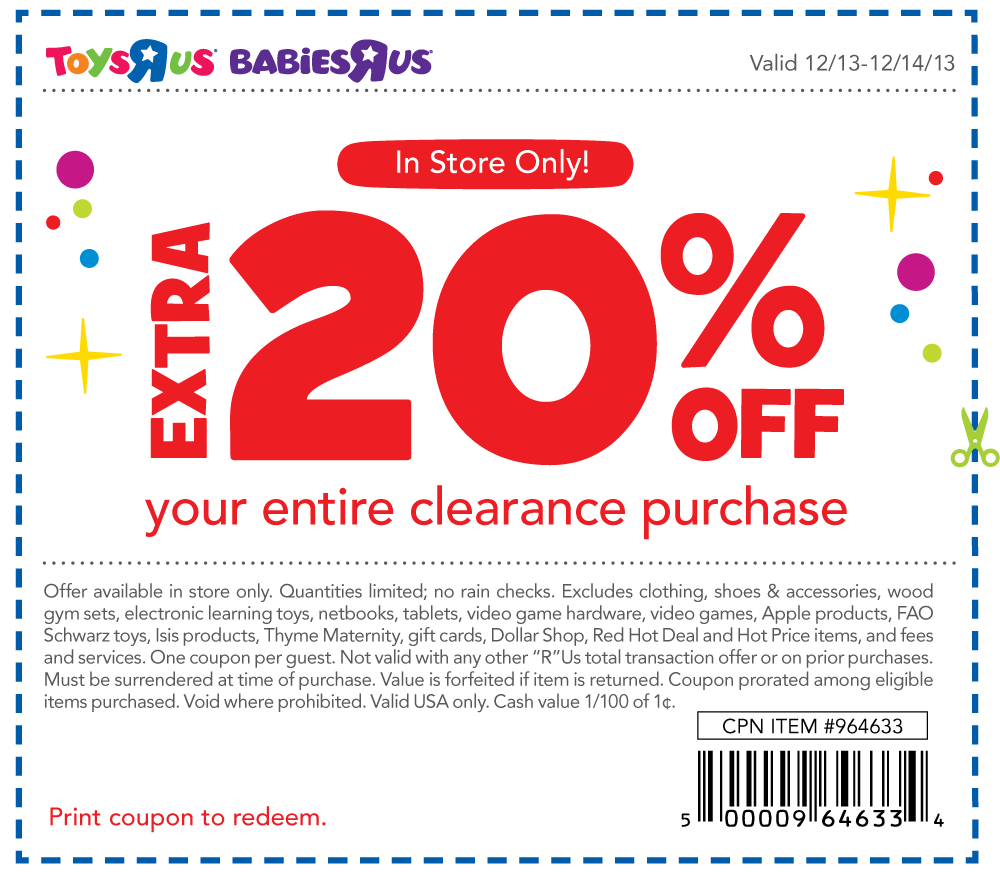 image relating to Printable Toysrus Coupons referred to as Pinned December 13th: Additional 20% off clearance at #Toys R Us