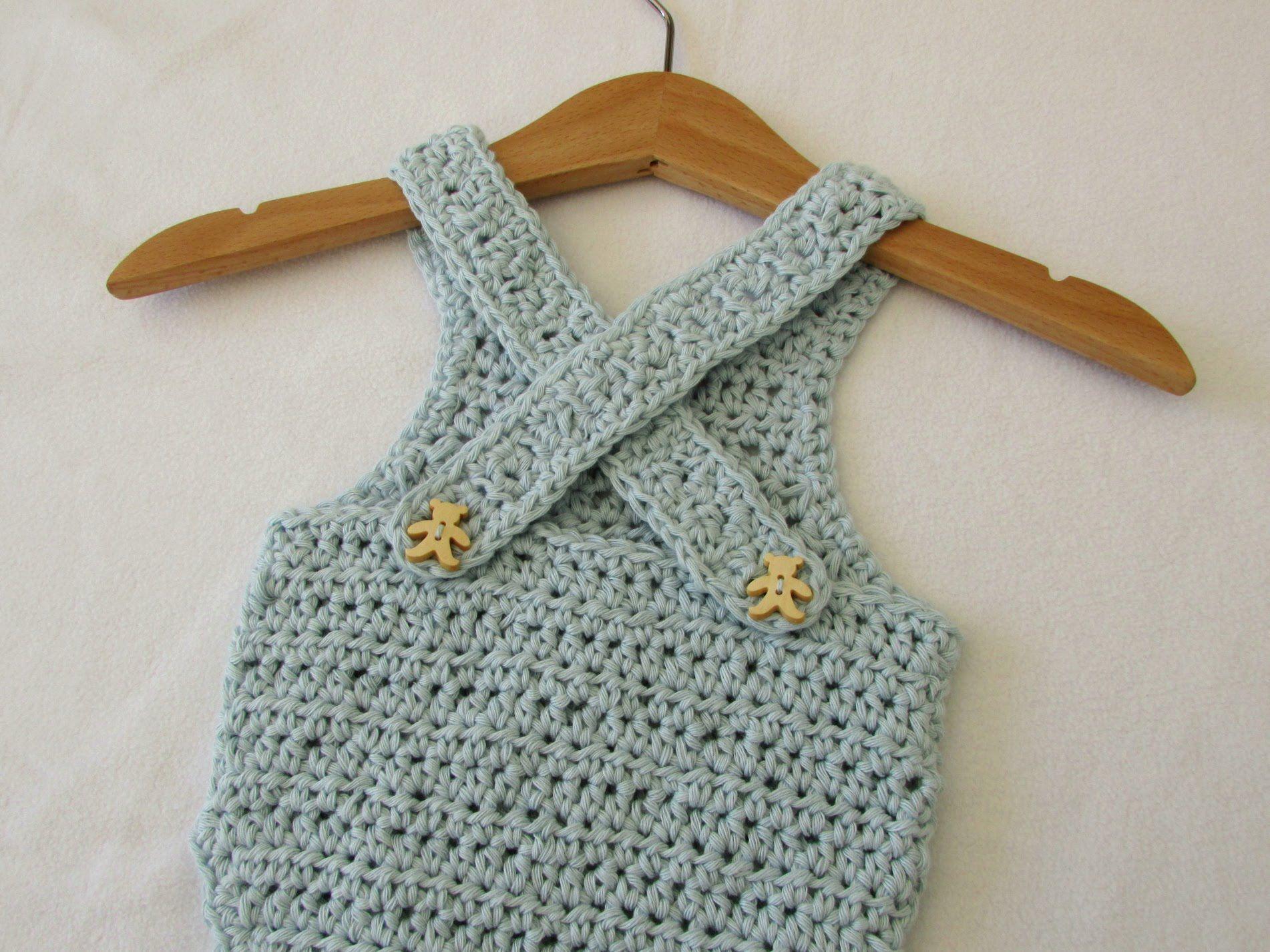 VERY EASY crochet cross back baby romper / onesie tutorial - video ...