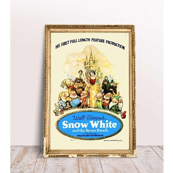 Disney Movie Poster 1937 Snow White and the Seven Dwarfs Disney Wall ...