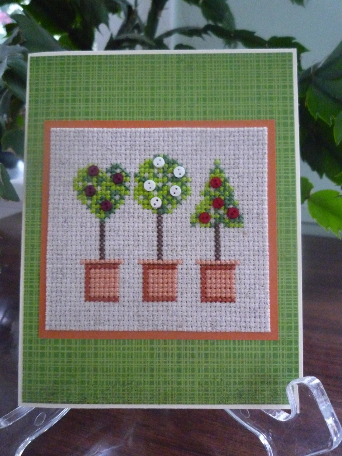 Flowering Trees hand stitched card. $5.50, via Etsy.