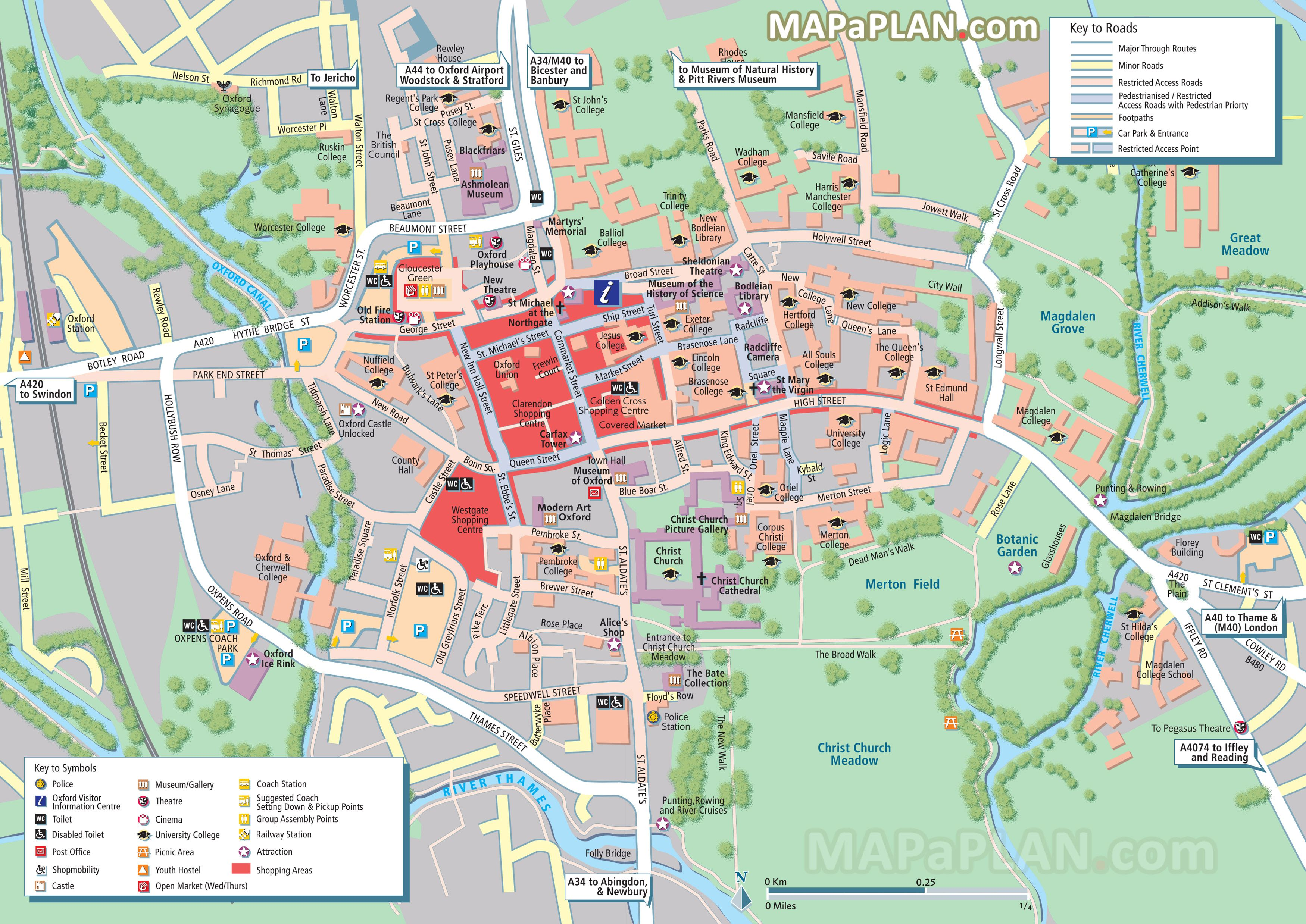 City Centre Detailed Street Travel Plan With Must See Places - London top attractions map
