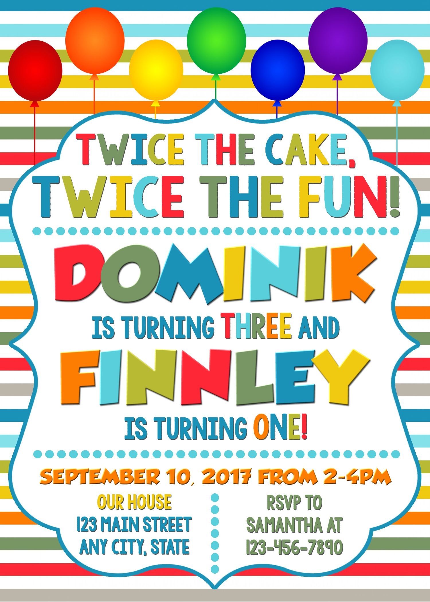joint combined birthday party invitation twins birthday invitation