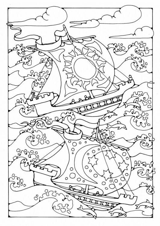Coloring Page Ships In The Storm Livre Coloriage Coloriage