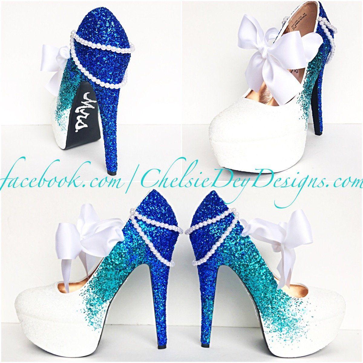 White wedding shoes, Royal blue pumps