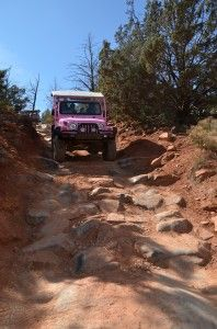 Pink Jeep Tours, Sedona, Arizona - so much fun! This is the staircase-- front seat view! July 2009